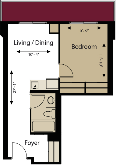 Junior One Bedroom Floorplan