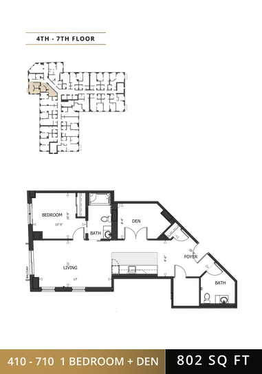 1 Bedroom + Den Floorplan