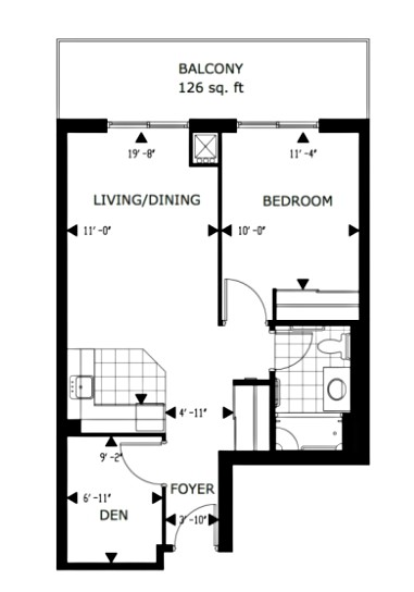 One Bedroom + Den Floorplan