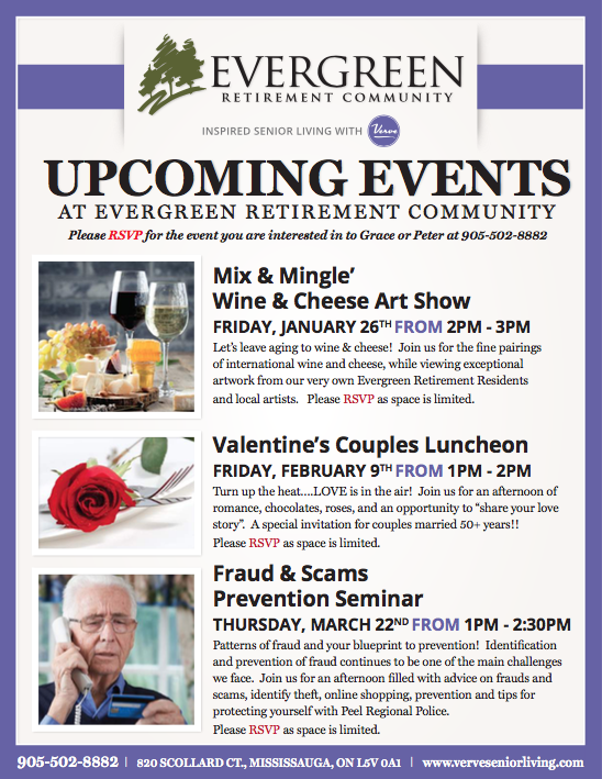 View Evergreen: Upcoming Events January-March 2018