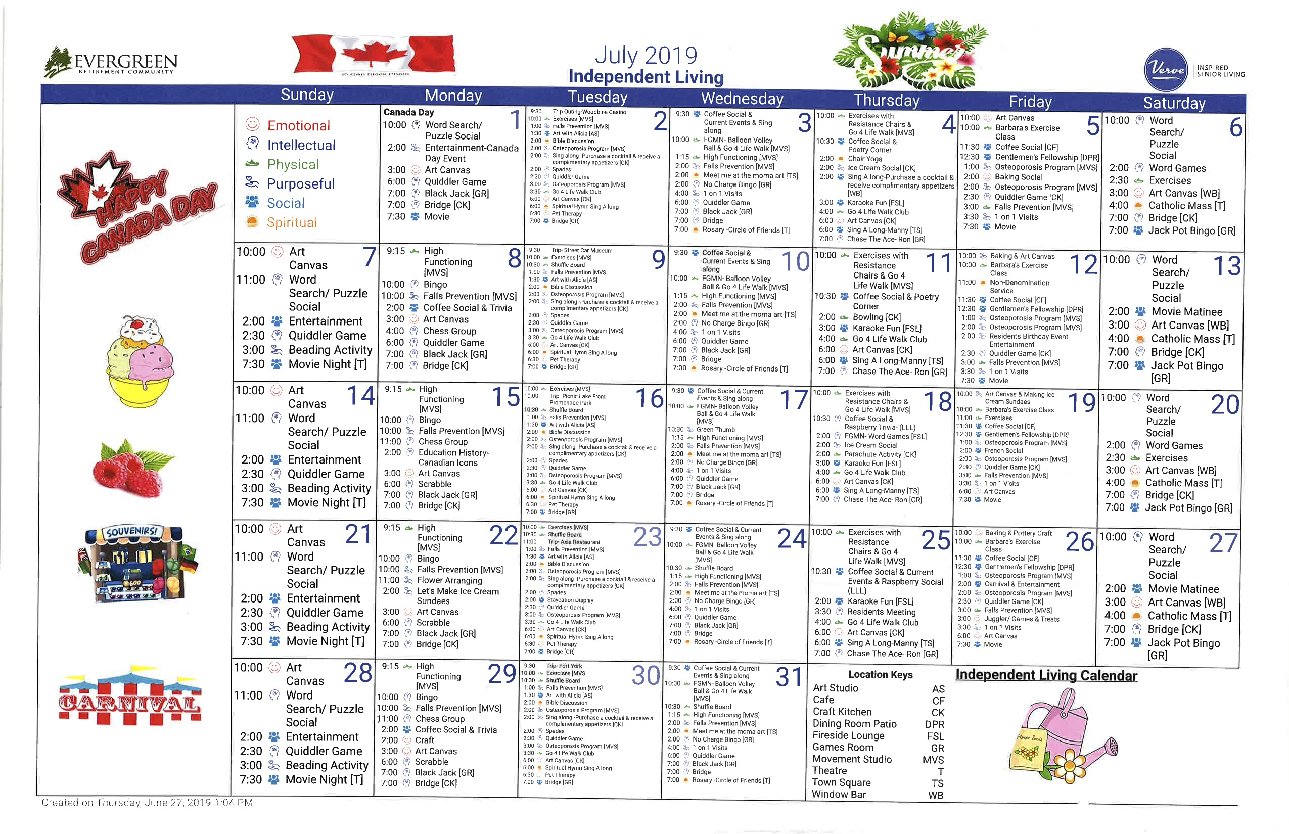 Evergreen Retirement Community Independent Calendar-July