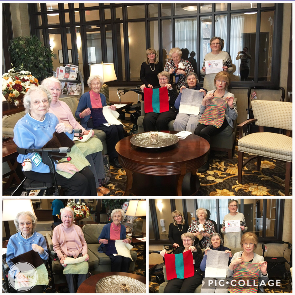 Ladies from the Knitting Club meet with All Paws Rescue