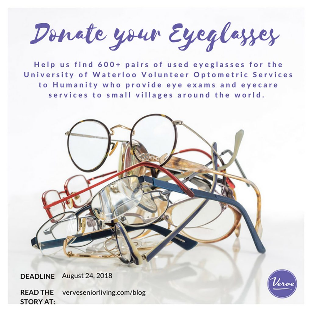 Help us find 600+ pairs of used eyeglasses for the University of Waterloo Volunteer Optometric Services to Humanity who provide eye exams and eyecare services to small villages around the world.