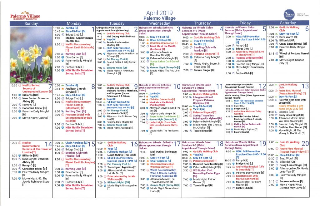 April 2019 Calendar Of Daily Activities Palermo Village