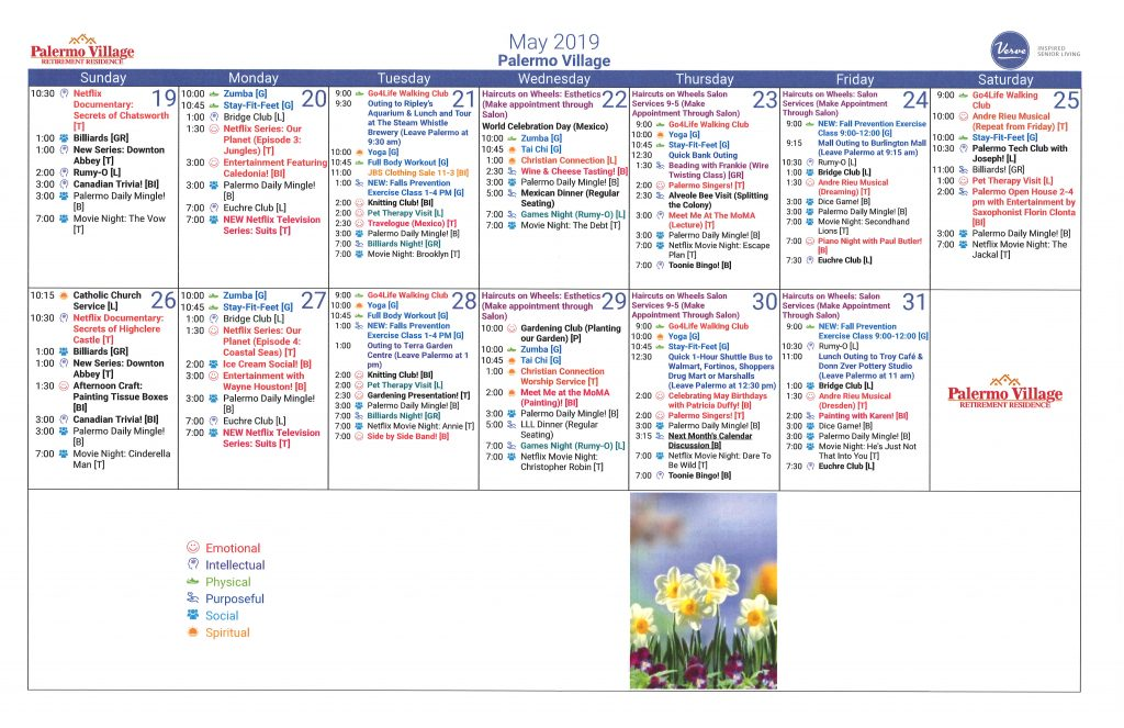 May 2019 Calendar of Daily Activities - Palermo Village