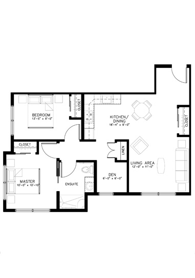 Two Bedroom + Den Floorplan