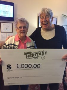 Peggy Wilschek and Denise Boutin with Referral Cheque