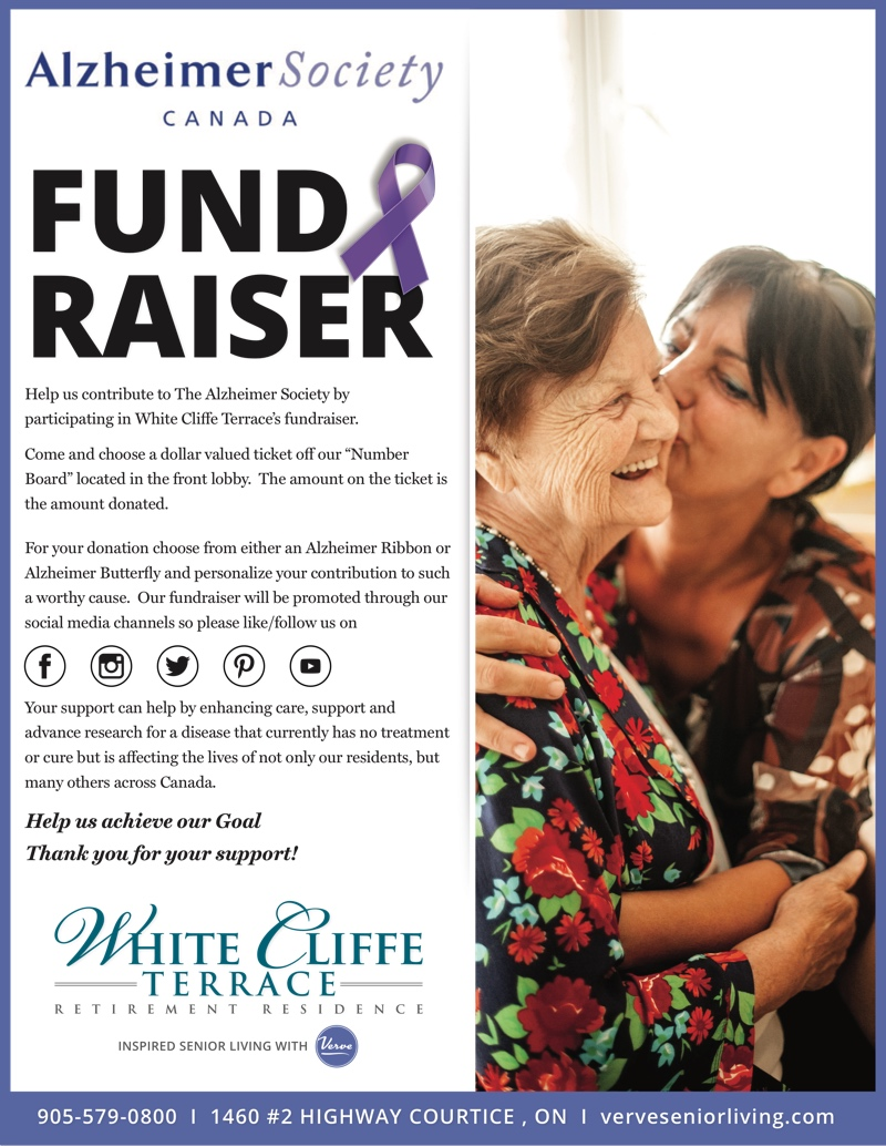 Help us contribute to The Alzheimer Society by participating in White Cliffe Terrace's fundraiser.