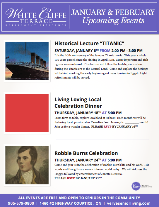 View White Cliffe Terrace Events Flyer: January 2018