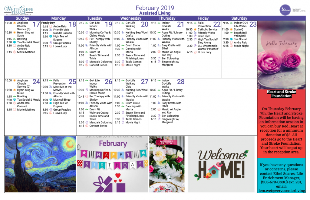 White Cliffe Terrace Assisted Living February 2019 Calendar - White