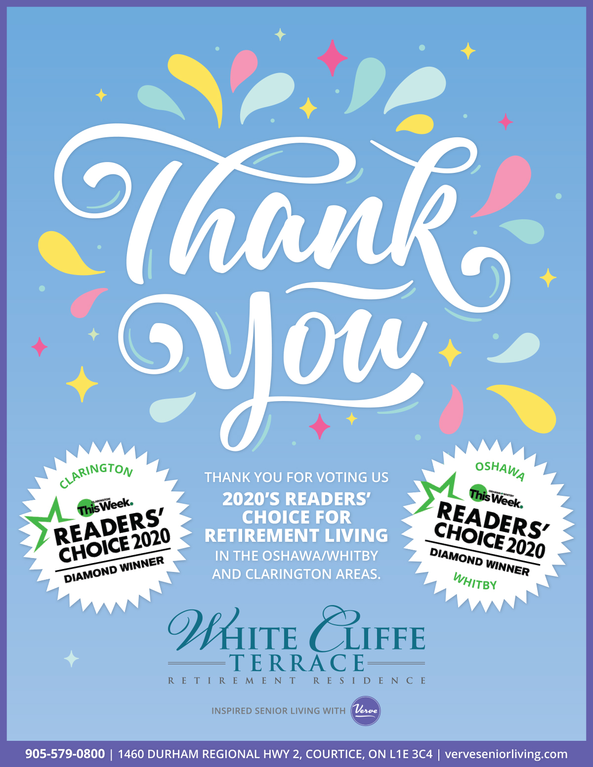 Thank you for voting us 2020 Readers' Choice for Retirement Living in the Oshawa, Whiteby and Clarington areas!